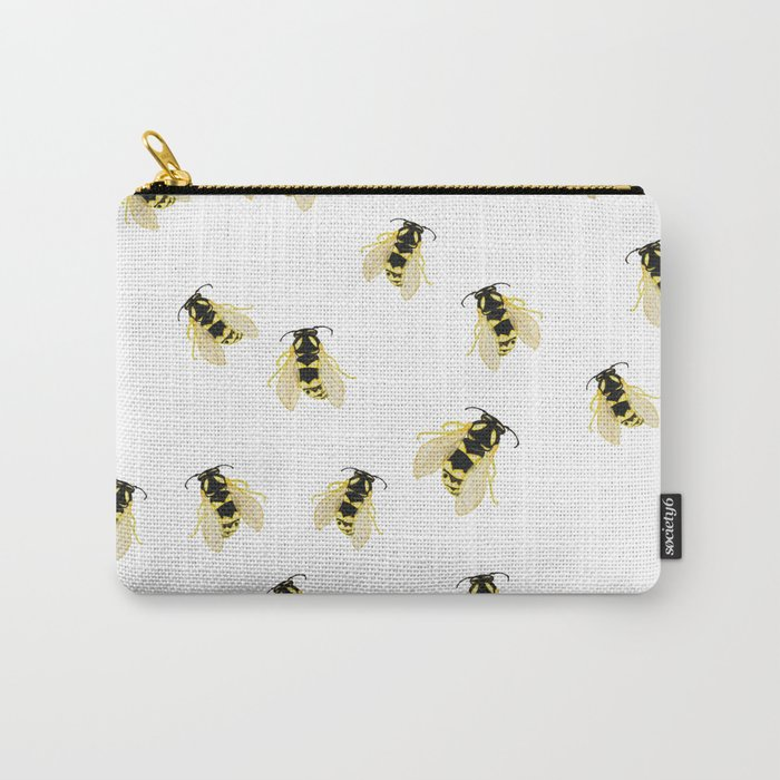 Hand Painted Watercolor Bees Carry-All Pouch
