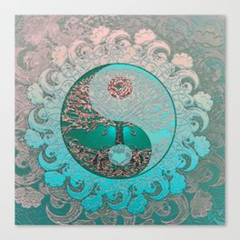 Pretty Chic Teal Tree of Life with Yin Yang and Heart Canvas Print