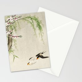 Swallows mid flight - Vintage Japanese Woodblock Print Art Stationery Cards