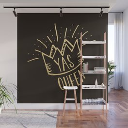 YAS QUEEN (gold on black) Wall Mural