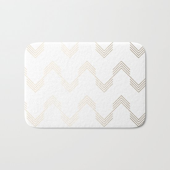 Simply Deconstructed Chevron White Gold Sands on White Bath Mat