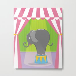 Circus Elephant in the Spotlight under the Big Top Metal Print