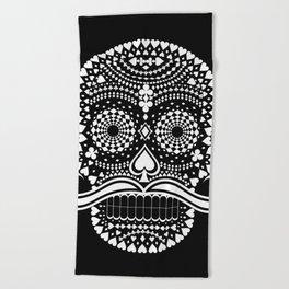 Black Skull  White Suits Beach Towel