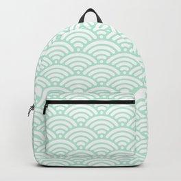 Mint Green Seigaiha Sea Wave Nautical Minimalist Backpack