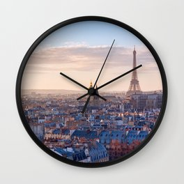 Paris skyline with eiffel tower at sunset Wall Clock