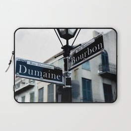 Dumaine and Bourbon - Street Sign in New Orleans French Quarter Laptop Sleeve