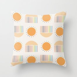 Sun and Rain Illustration Throw Pillow