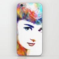 hepburn iPhone & iPod Skins featuring Audrey Hepburn by Michael Akers