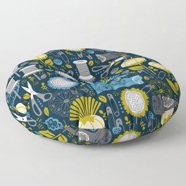 Garden of Sewing Supplies - Navy Floor Pillow