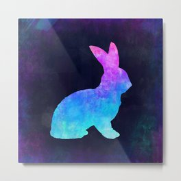 BUNNY IN SPACE // Animal Graphic Art // Watercolor Canvas Painting // Modern Minimal Cute Metal Print
