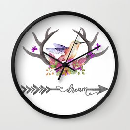 Hummingbird on floral Antlers and Dream arrow Wall Clock