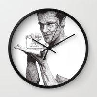 tyler durden Wall Clocks featuring Tyler Durden II by Rik Reimert