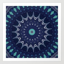 Navy Blue Teal Mandala Design Art Print