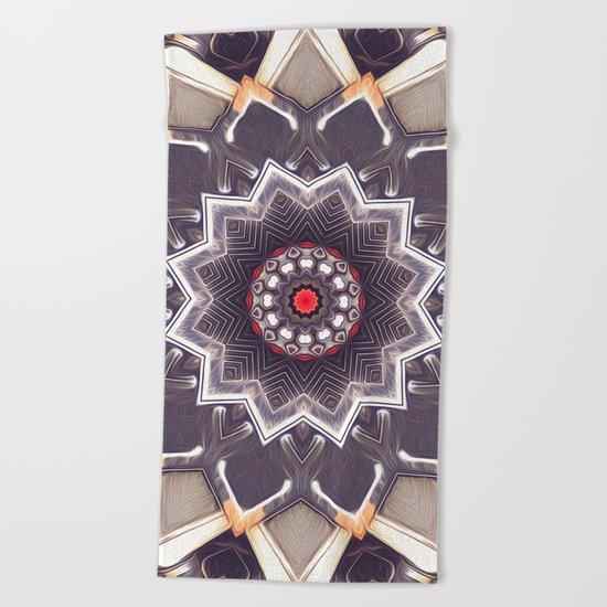Abstract Gray Mandala Beach Towel