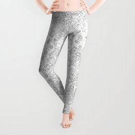 Clockwork B&W / Cogs and clockwork parts lineart pattern Leggings