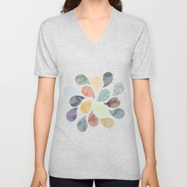 Colorful Water Drops (Watercolor version) Unisex V-Neck