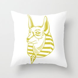Great Egyptian Dog Shirt For Egypt Fan With Minimal Design Of An Ancient Egyptian Dog T-shirt Design Throw Pillow