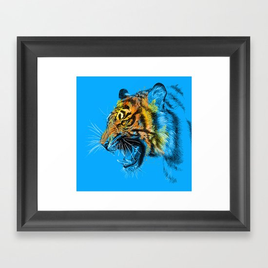 Tiger Roaring Wild Animal Roar Framed Art Print