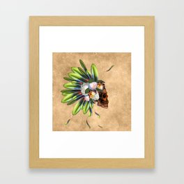 Awesome skull with feathers Framed Art Print