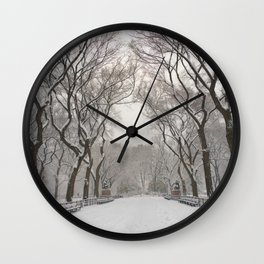 Central Park Mall Snow Wall Clock