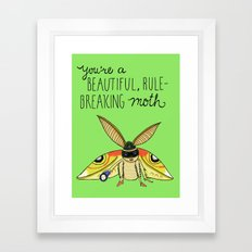 Leslie Knope Compliments: Rule-Breaking Moth Framed Art Print
