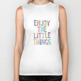 Enjoy the Little Things Watercolor Rainbow Design Inspirational Quote bedroom Wall Art Home Decor Biker Tank