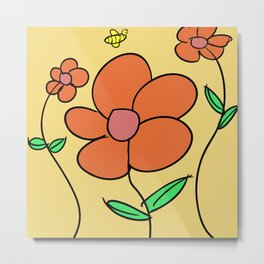 Happy Flowers and a Bumble Bee Drawing Metal Print
