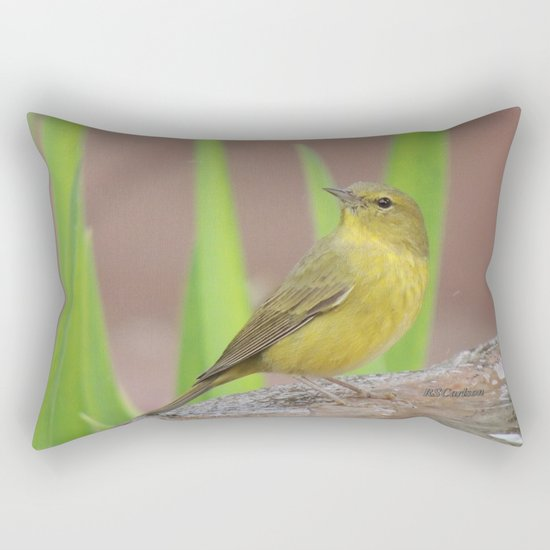 Yellow Warbler at the Fountain Rectangular Pillow