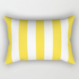 Banana yellow - solid color - white vertical lines pattern Rectangular Pillow