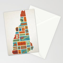 New Hampshire quilt-style screenprint Stationery Cards