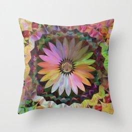 Tropical Daisy Mandala Throw Pillow