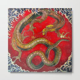 Embossed Hokusai Dragon Seal Very High Quality Metal Print
