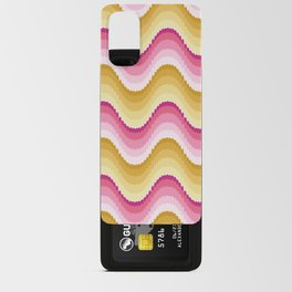 Bargello waves golden yellow pink Android Card Case