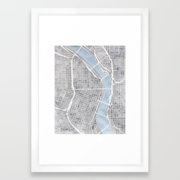 Portland Oregon watercolor city map art Framed Art Print