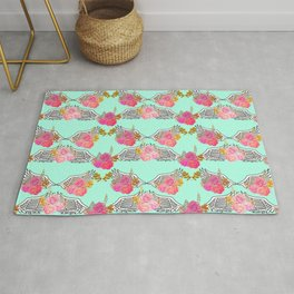Wings and Roses Mint Green Rug