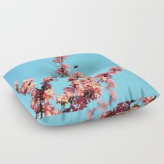 Pink flowers With Bee Floor Pillow