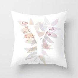 Rustic Watercolor Monogram - Letter Y Throw Pillow