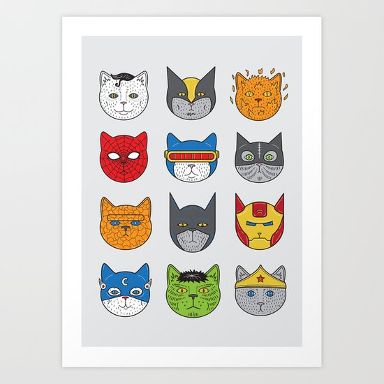 Super Cats Art Print