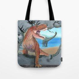 Prehistoric Dinosaur Tyrannosaurus Enters the 21st Century Tote Bag