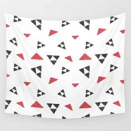 Hand painted watercolor black red geometrical triangles Wall Tapestry