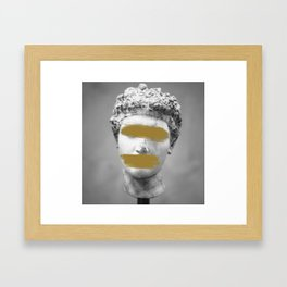 Gold Brush Strokes Marble Statue Framed Art Print