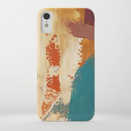 Rustic Orange Teal Abstract iPhone Case