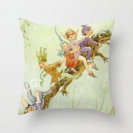 """The Pond Fairies"" by Margaret Tarrant Throw Pillow"