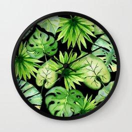 tropical leaves on black Wall Clock