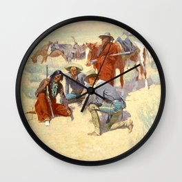 "Western Art ""A Map in the Sand"" by Frederic Remington Wall Clock"