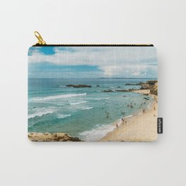 People Having Fun On Beach, Algarve Lagos Portugal, Tourists In Summer Vacation, Wall Art Poster Carry-All Pouch