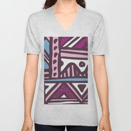 Mid-Century Modern Abstract Geometric In Cranberry & Pink Unisex V-Neck