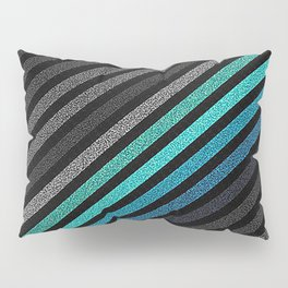 stripeS : Slate Gray Teal Blue Pixels Pillow Sham