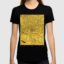 raleigh map yellow T-shirt