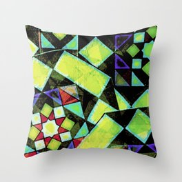 Green Shapes Geometric Throw Pillow